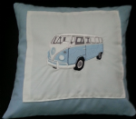 PERSONALISED EMBROIDERED VW CAMPER VAN THEME CUSHION - Sky Blue